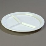 "Carlisle 3-Compartment Plate, 10"" dia., white"