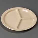 "Carlisle 3-Compartment Plate, 10"" dia., tan"