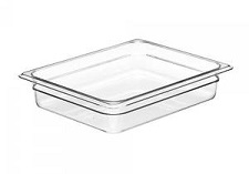 "Cambro Food Pan, 1/2 size, 2-1/2"" deep, clear"