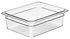 "Cambro Food Pan, 1/2 size, 4"" deep, clear"