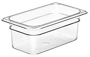 "Cambro Food Pan, 1/4 size, 4"" deep, clear"
