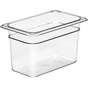 "Cambro Food Pan, 1/4 size, 6"" deep, clear"