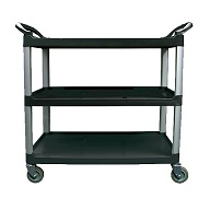"Crown Brands Bus Cart, 3-Shelf, 40"" L, Black"