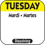 National Checking Co. 1 x 1 Trilingual Dissolvable Labels - Tuesday
