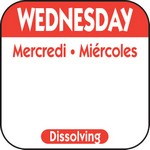 National Checking Co. 1 x 1 Trilingual Dissolvable Labels - Wednesday