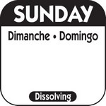 National Checking Co. 1 x 1 Trilingual Dissolvable Labels - Sunday