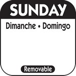 National Checking Co. 1 x 1 Trilingual Removable Labels - Sunday