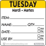 National Checking Co. 2 x 2 Trilingual Item/Date/Use By Removable Labels - Tuesday
