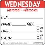 National Checking Co. 2 x 2 Trilingual Item/Date/Use By Removable Labels - Wednesday