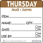 National Checking Co. 2 x 2 Trilingual Item/Date/Use By Removable Labels - Thursday