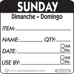 National Checking Co. 2 x 2 Trilingual Item/Date/Use By Removable Labels - Sunday