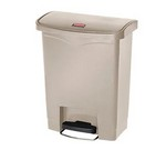 Step-On Wastebasket, 8 Gallon, Beige