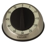 Taylor Precision Timer, 60 Minute, Long Ring, Stainless Steel