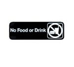 "Tablecraft Sign, 3"" x 9"", ""No Food or Drink"""