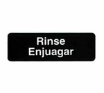 "Tablecraft Sign, 3"" x 9"", ""Rinse/Enjuagar"""