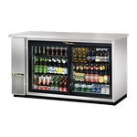 True Back Bar Cooler, 2-Section, Stainless, Glass Doors