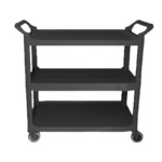 "Crown Brands Bus Cart, 3-Shelf, 33"" L, Black"