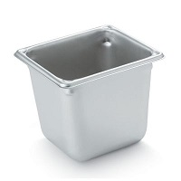 "Vollrath Food Pan, Stainless, 1/6 size, 6"" deep"